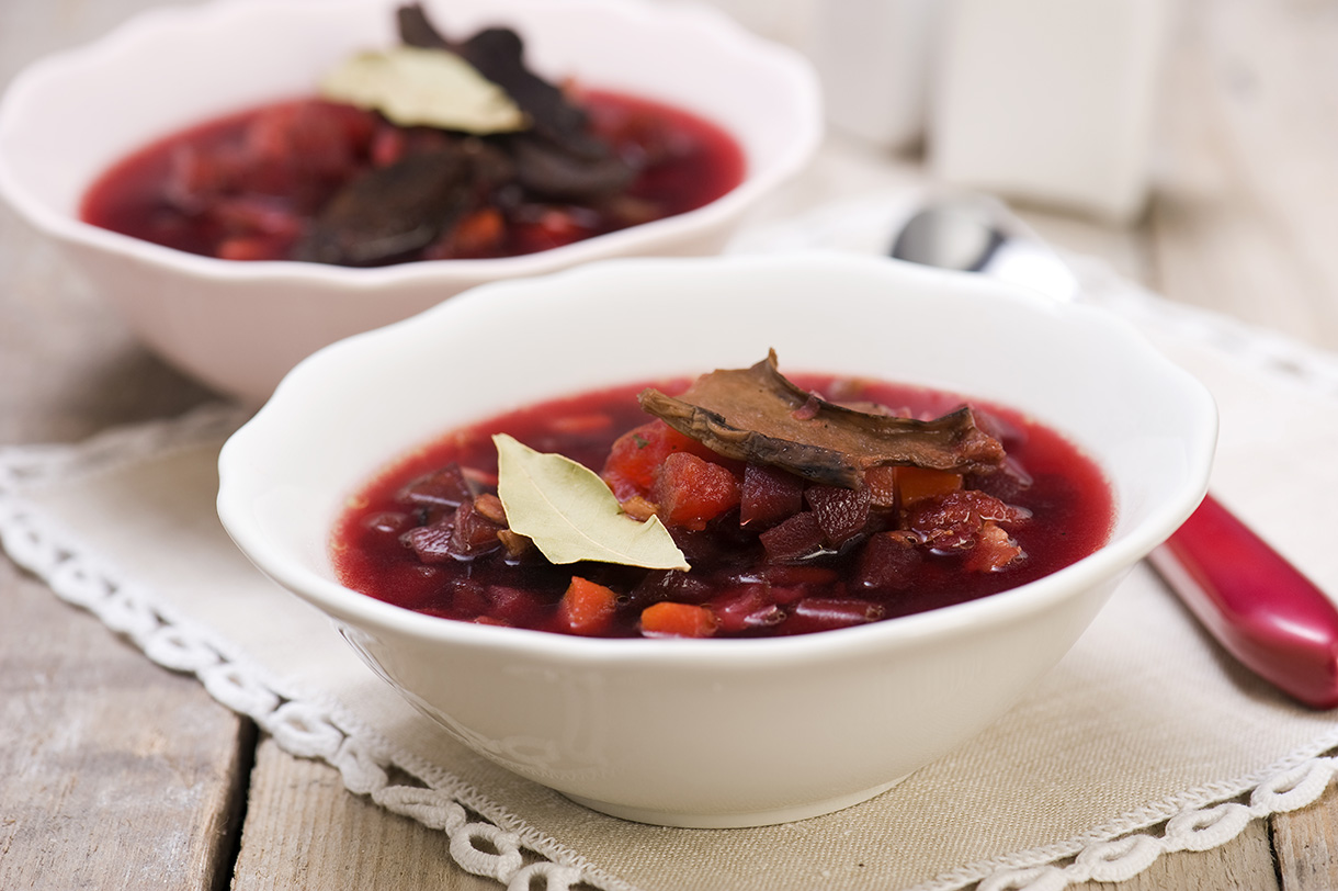 Ukrainian borsch with smoked