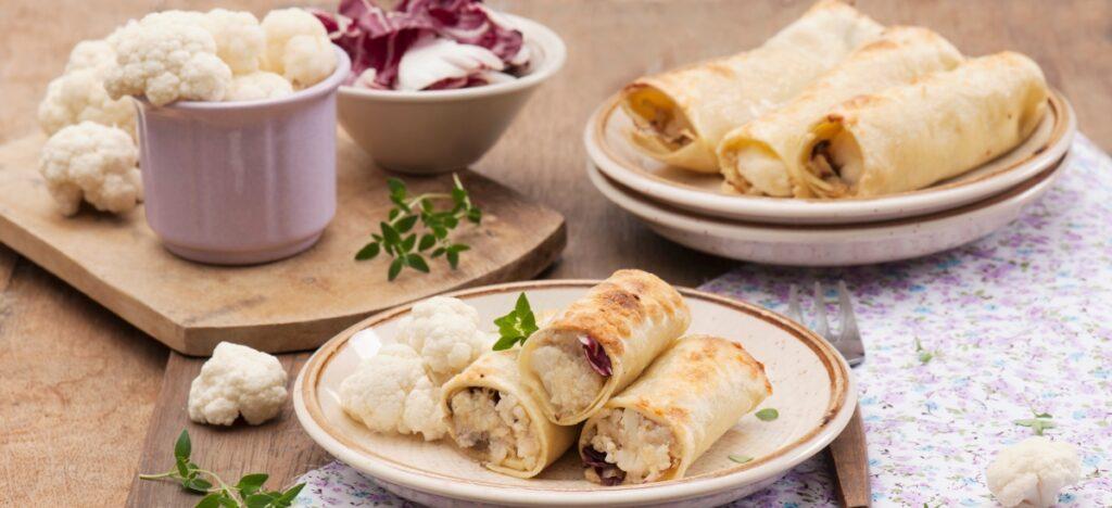 Cannelloni z serem ricotta, kalafiorem i sałatą radicchio
