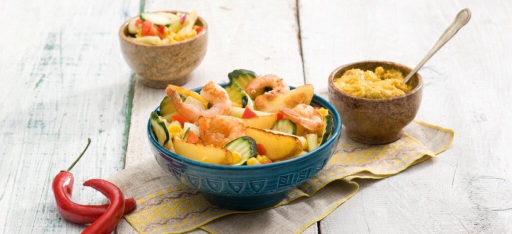 Curry warzywne z krewetkami