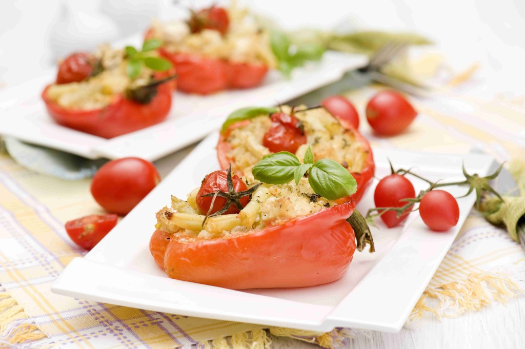 Peppers stuffed with couscous and beans