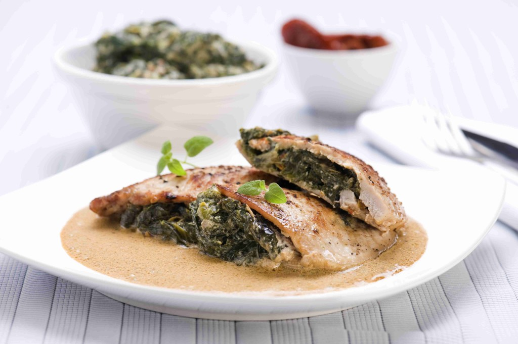 Pork chop pockets with spinach