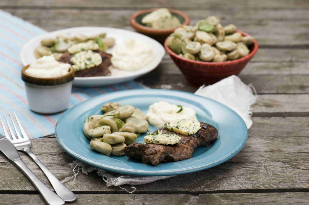Beef sirloin steak with broad beans and cauliflower mousse
