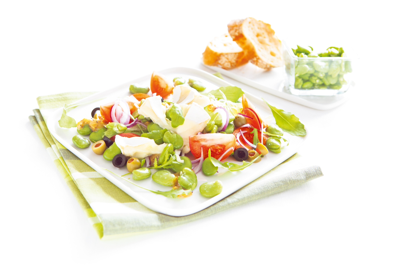 Spring salad with camembert cheese