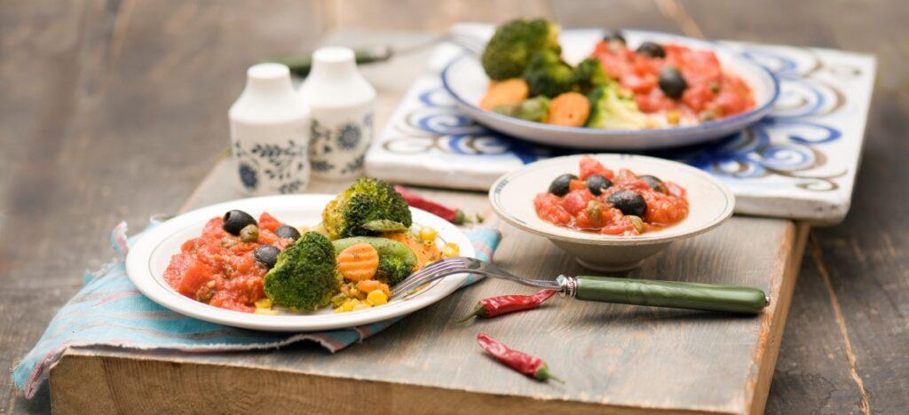 Warzywa z sosem puttanesca