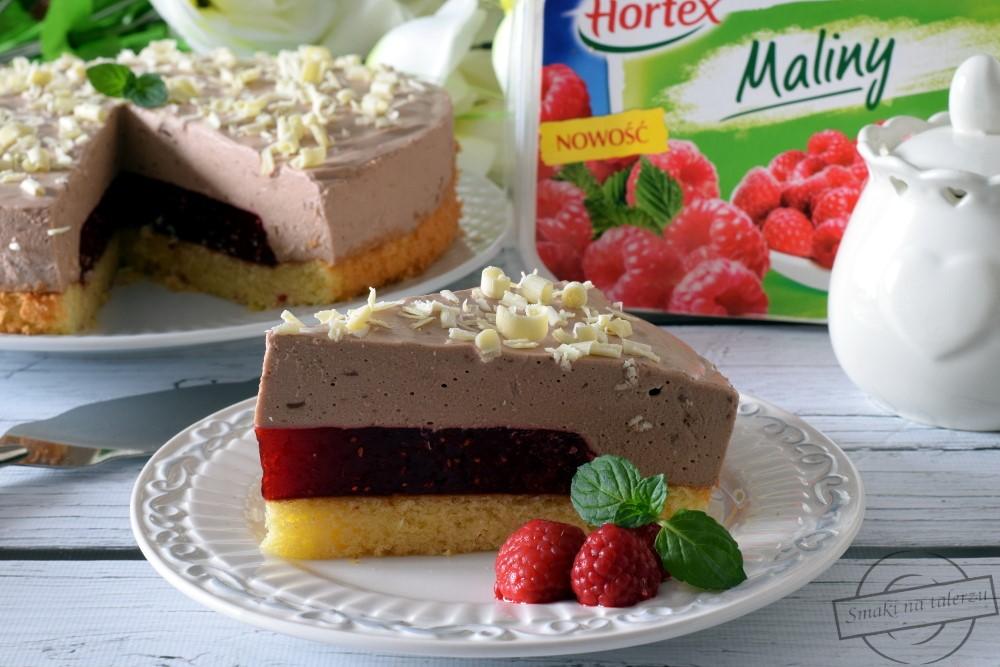 Ciasto zmasą czekoladową imalinową wkładką
