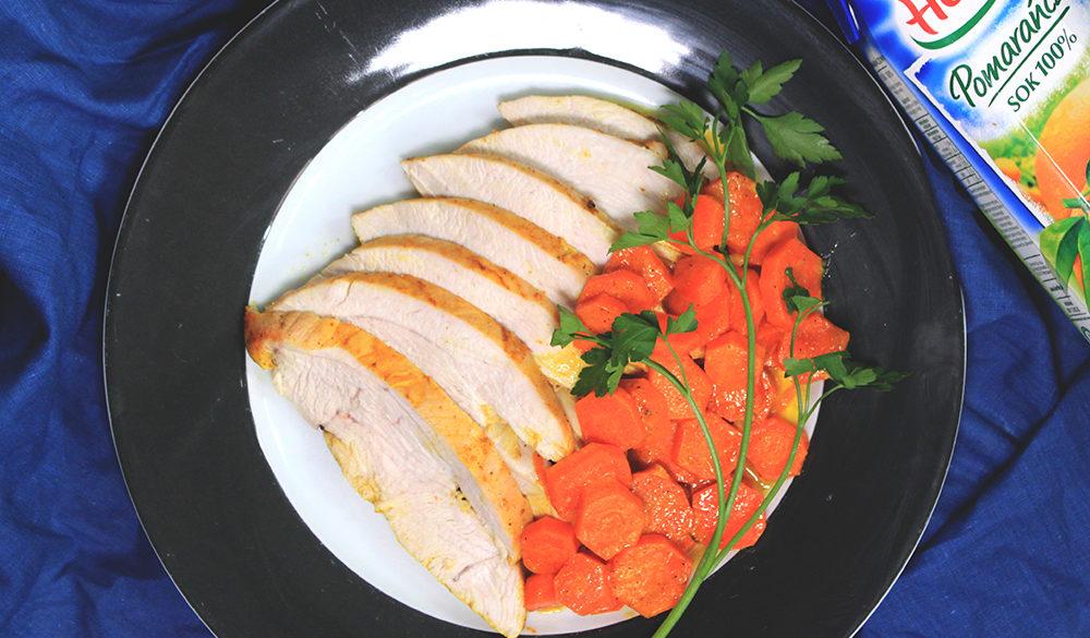 Pomarańczowy indyk zduszoną marchewką